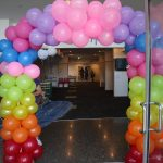 Light Party 2020 rainbow balloon arch